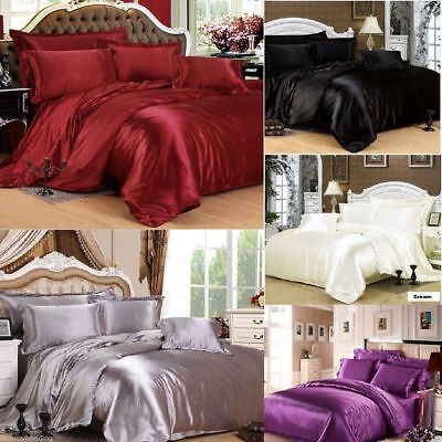Luxury High Quality Satin Bedding Sets Duvet Cover + Fitted Sheet + Pillowcases