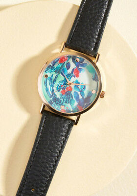 A Lot of Time On Your Land Women's Rose Gold Watch Blue Cactus Print Black Band