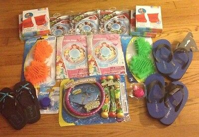 Lot Of 16 New Kids Summer Sandals And Pool Toy Accessories + Bonus