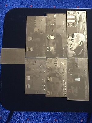 Schweizer Goldbanknoten Set vergoldet-10-20-50-100-200-1000 Franken Noten Set