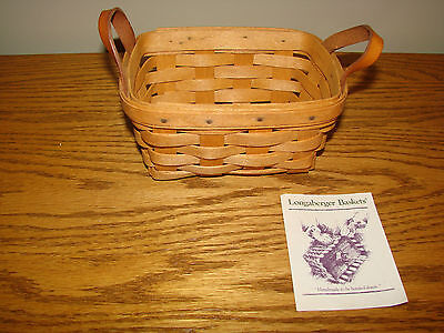 Longaberger Classic Stain 1993 TEA Basket With Leather Loop Handles Product Card