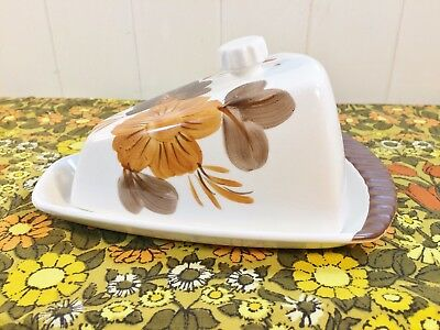 Vintage Retro 50s 60s Shorter & Son Butter Dish Orange Brown Flower Mid Century