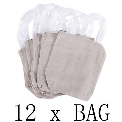 """12 Fun Canvas Tote Bags Natural Color 8"""" X 8"""" NEW Small Blank Craft Party Favors"""
