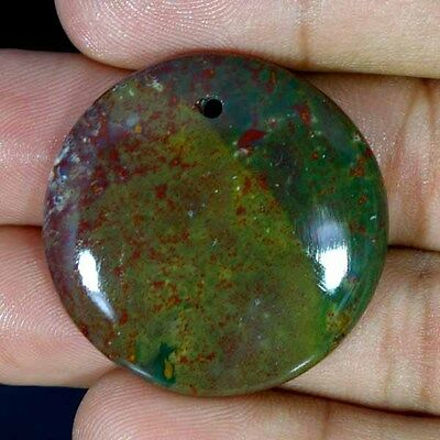 50.70Cts 100% Natural Blood Stone with hole drilled Round Cab Designer Gemstone