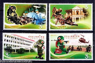 Thailand MNH 4v, Red Cross, Medicine, Army, Helicopter Ambulance
