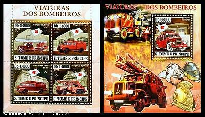 S. Tome MNH 4v SS, Gold, Embossed, Odd Stamps, Old fire Engines, Red Cross - M1