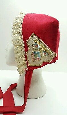 Childs Red Bonnet Cap Lace Trim Embroidery Accents Early Pennsylvania Shakers