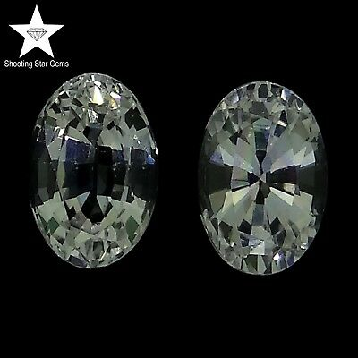pair of oval cut natural colourless sapphires 1.31ct genuine loose gemstones