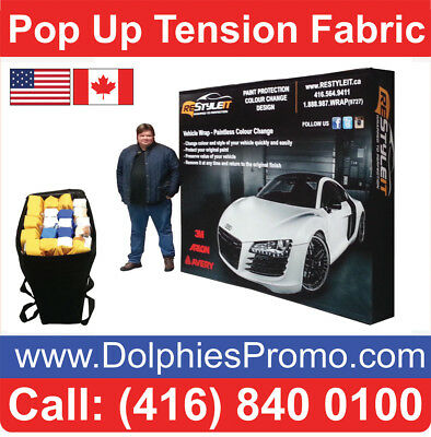 2 BUS DAYS PRODUCTION: 8' Pop Up Tension FABRIC Booth Display + Dye-Sub Graphics