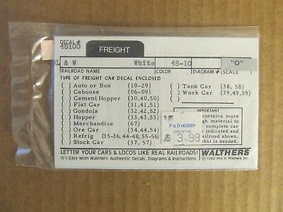 NOS WALTHERS O SCALE DECAL - DL&W FREIGHT CAR #48-10 (white lettering)