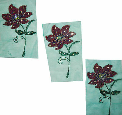 Decorative Floral Design Traditional Appliques Craft Sewing Fabric Patch 5 Pcs