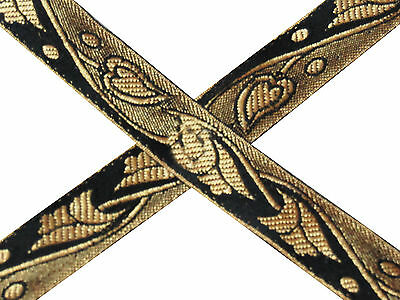 "1"" Wide New Indian Jacquard Black Ribbon Design Trim Floral Sari Border 5 Yd"