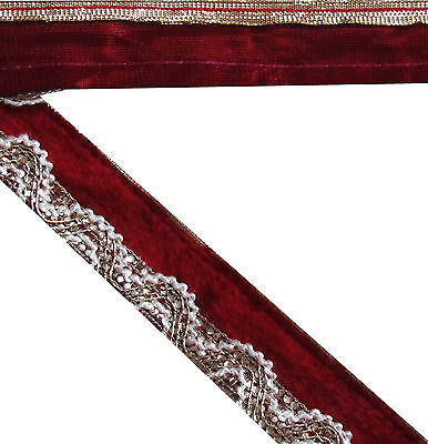 "1.5"" W New Floral Jacquard Trim Lace Maroon Sewing Craft Velvet Border Fabric 9Y"