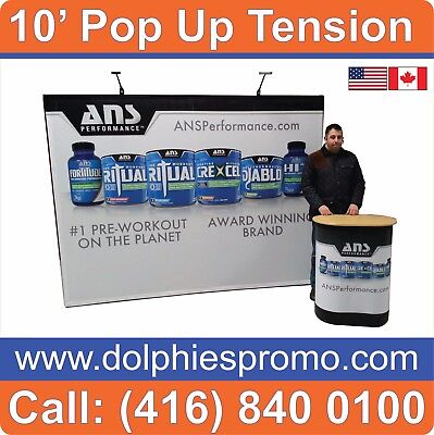 2 BUS DAYS PRODUCTION: 10' Pop Up Tension FABRIC Booth Stand + Dye-Sub Graphics