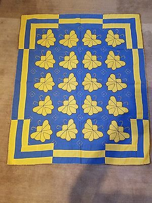 Antique Applique Blue and Yellow Butterfly Crib Quilt