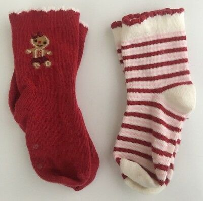 EUC! GYMBOREE Gingerbread Friends Girl Striped Socks Red 18 - 24 HTF 2011