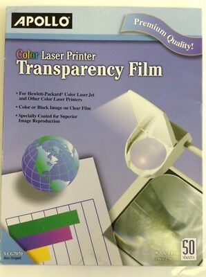 "Apollo Color Laser Printer Transparency Film ,8.5 x 11"",50 Sheets (VCG7070)"