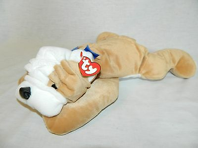 """VTG retired 1998 TY Pillow Pals English Bull Dog BRUISER New with Tag 14"""" plush"""