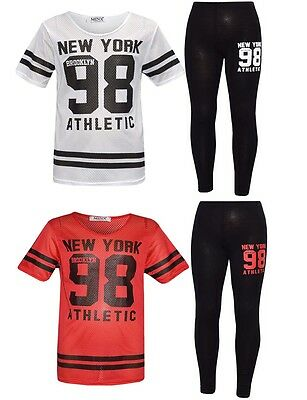 Girls Top And Legging Set New York Brooklyn 98 Athletic Netted Dot 7-13 Years