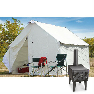 12 X 10 Canvas Wall Tent Bundle w/ Floor, Frame, & Outdoor Wood Stove Camp Cabin
