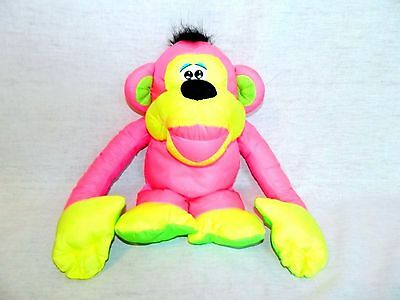 VTG 1994 Fisher Price CHATTERING CHIMP Neon Pink Yellow Monkey w Sound puffalump