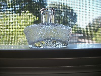 Neat Daisy & Button Early Pressed Glass Tapered Perfume Bottle 1890S Era
