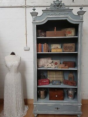 Striking Antique French Carved Crested Bookcase - C1900
