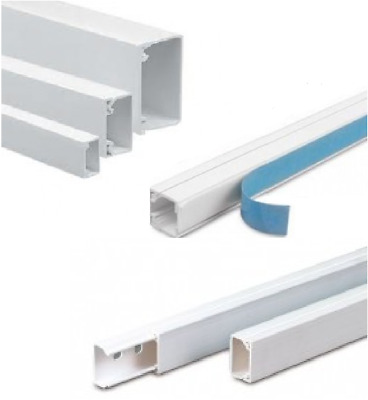 Mini Trunking Cable Tidy PVC Plastic Electrical Self Adhesive or Standard By 1M