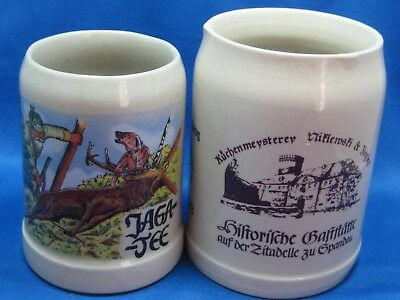 Two Antique German Beer Mugs Hand Painted Engraved & Marked 0.25 L & 0.4 L Nice