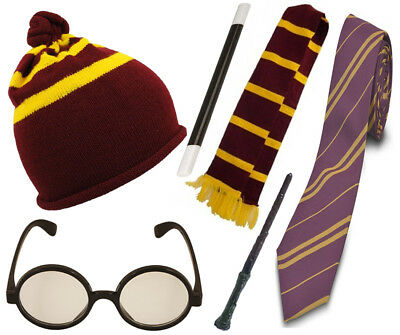 Wizard Boy Gryffindor Fancy Dress Scarf Glasses Set Lot Costume