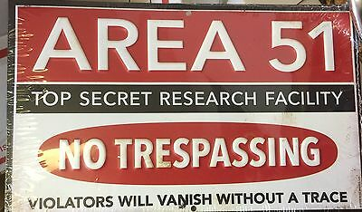 Area 51 Top Secret Research Facility, No Trespassing Tin Sign