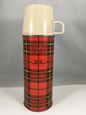 Vintage Plaid Thermos Red Beverage Container Pint-Size Made in USA
