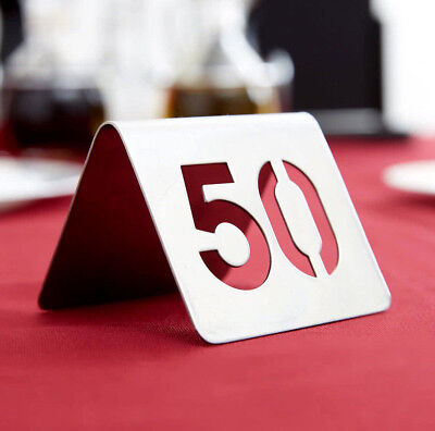 """1-50 Stainless Steel 2"""" Silver Restaurant Table Tent Number Stand Seating Sign"""