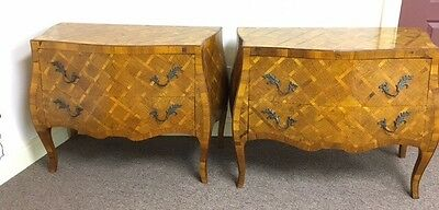 Pair (2) Mid Century Parquet Bombe Vintage Dressers Chests Antique Italy