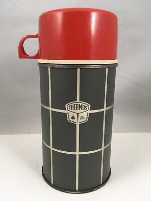 Gray & Red Vintage Thermos Bottle 2834 Grey with Plaid Checks Made in USA