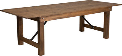 8' x 40'' Antique Wood Rustic Design Folding Dining Table with Solid Pine Top