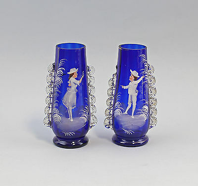 7935013 Pair Glas Vases Bohemia Middle 19. Jh cobalt blue Snow painting