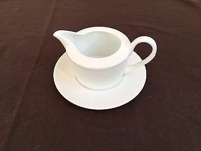 White Open Gravy/Sauce Boat With Saucer