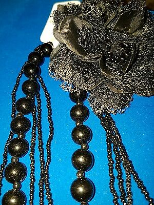 joblot 14 ladies 5 row black beaded necklaces with corsage #14A
