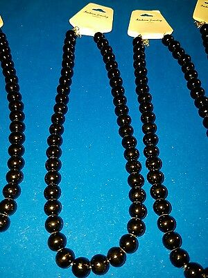 joblot 10 black glass beaded necklaces #10A