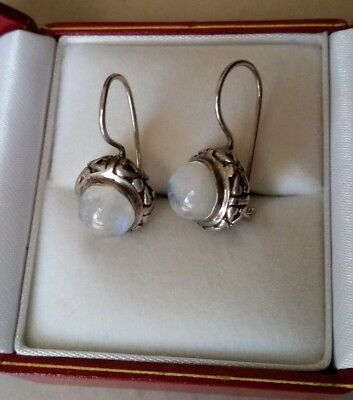 Solid 925 STERLING SILVER earrings with Moonstone