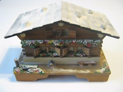 Vintage 1950's Swiss Chalet Cottage Music Jewelry Box Made in Japan