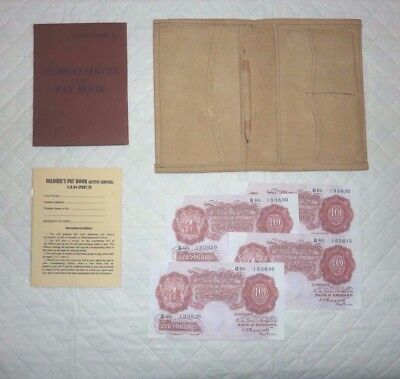 WW2 British Army AB64 Pay Book & Waterproof Holder New Reproductions