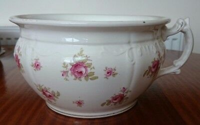 Large Vintage Cream Chamber Pot Planter with Pink Rose Transferware - 23cm