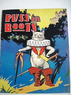 """RARE Vintage Linen """"Puss in Boots"""" Children's Book w/Large Print,Colorful Pics*"""