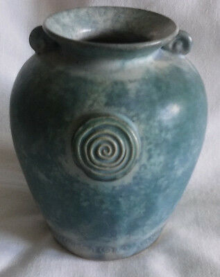 Bluey/Green Mottled Conwy Studio  Pottery Vase Wales