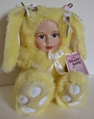 Adorable Limited Edition Yellow Bunny Baby With Porcelain Face With Tag