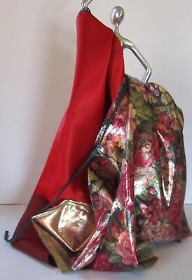 Luscious Red Satin With Metallic Floral Fabric For Stunning Doll Costumes #2