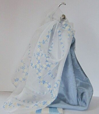 Dusty Blue Water Silk With Vintage Flocked Floral Fabric For Doll Costumes