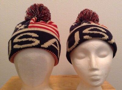 Lot of 2 USA American Flag Unisex One Size Knit Beanie Hats Red Blue Cream P2